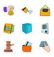 auction card icons set cartoon style vector image