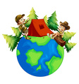 Children camping out in the forest vector image vector image