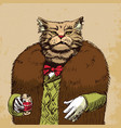 arrogant sophisticated dressed cat boss looking vector image