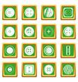 clothes button icons set green vector image