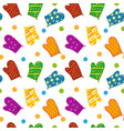 kitchen potholders seamless pattern mittens for vector image