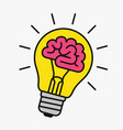 light bulb with a brain inside vector image