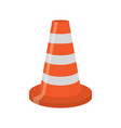 orange road cone with white lines vector image
