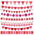 Pink and red bunting and garland set vector image
