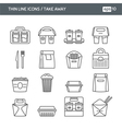 Set with thin line icons Take away vector image