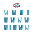 sheet of sprites rotation of cartoon 3d letter w vector image