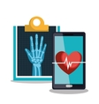 set smartphone and clipboard medical heatlh vector image