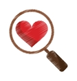 drawing heart love loupe search icon vector image