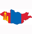 Map of Mongolia with national flag vector image vector image