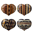 Set of glass hearts with African texture inside vector image vector image