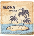 Vintage of the island in the ocean vector image vector image