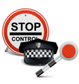 Police Cap with Sign and Baton vector image vector image