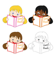 Girl Read Good Book vector image