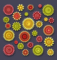 set of simple decorative flowers vector image