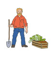 sketch coloured of farmer man vector image