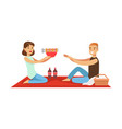happy couple having outdoor barbeque picnic man vector image