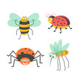 funny insects with cute faces isolated vector image