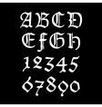 Ghotic numbers and letters vector image vector image