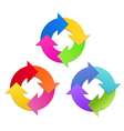 Arrows in Circle in 3 Colors Sets vector image