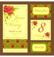 Poppy flower Wedding card set Vintage vector image