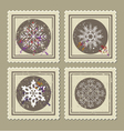 Set of retro christmas postage stamps vector image