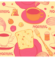 Breakfast with hot toasts tomatoes and tea vector image vector image