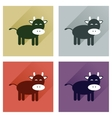 Concept of flat icons with long shadow cow calf vector image