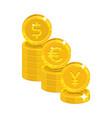 dollar euro yen coins vector image