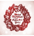 Merry Christmas and Happy New Year Xmas wreath vector image