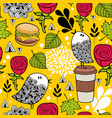 seamless pattern with doodle birds and fast food vector image