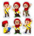 Sticker set with muslim children vector image