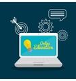 laptop school set elements design vector image