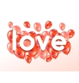 Love Greeting card with pink and red glossy vector image