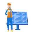 young caucasian worker of solar power plant vector image