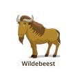 Wildebeest african savannah animal cartoon vector image