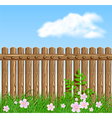 Wooden fence on green grass with flowers vector image vector image