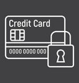 Credit card with padlock line icon protection vector image