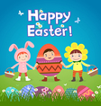Cute children wearing Easter theme costumes vector image