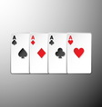 Four playing cards suits symbols on gray vector image
