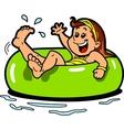 Girl Floating Inner Tube vector image