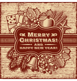 Merry Christmas Retro Card Brown vector image