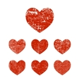 Set grunge heart vector image