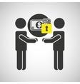 silhouette men money internet safety vector image