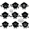 smilies round set black vector image