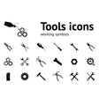 Tools icons set Wrench key glue pliers cogwheel vector image