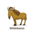 Wildebeest african savannah animal cartoon vector image