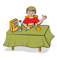 Small boy have a breakfast vector image