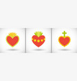 sacred hearts flat icons vector image