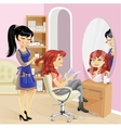 Service girl in a beauty salon at the hairdresser vector image