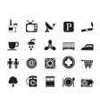 Silhouette Hotel and Motel objects icons vector image